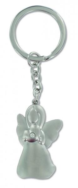 Schlüsselanhänger aus Metall mit dem Motiv Engel mit weißem Steinchen