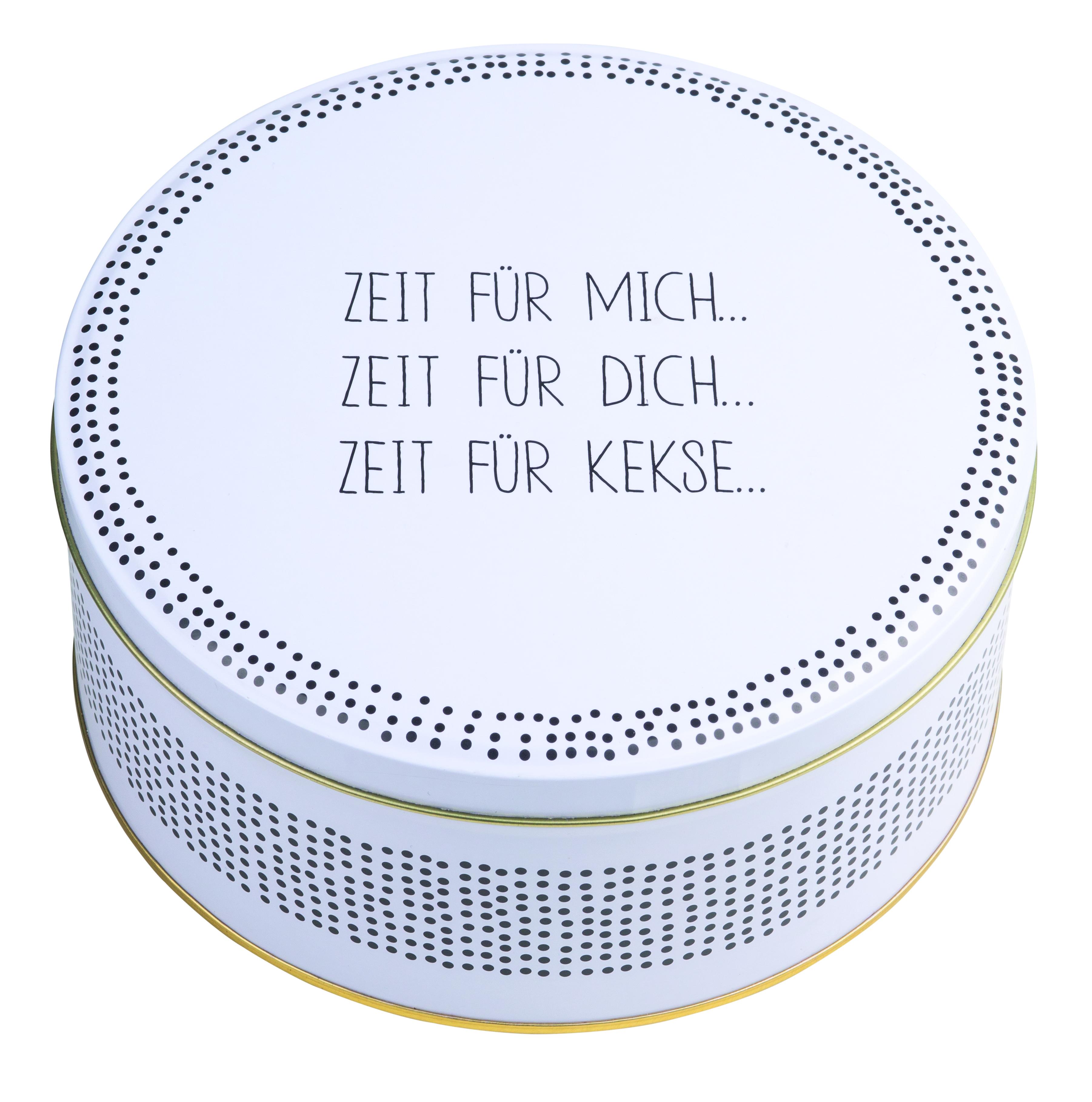 Nützlichküchenaccessoires - Keksdose Zeit für mich... weiß schwarz räder - Onlineshop Tante Emmer