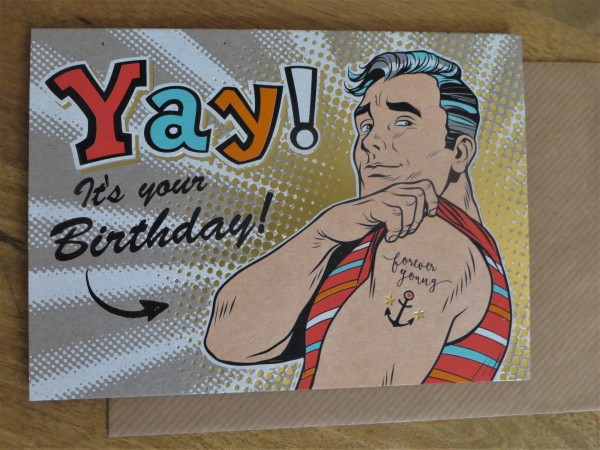 """Klappkarte / Umschlagkarte """"Yah! It´s your Birthday!"""" KUNST und BILD"""
