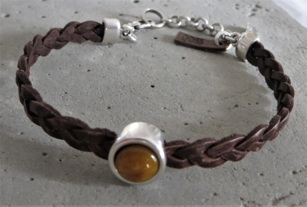 QOSS Armband FLEUR vintage braun-ockergelb, onesize
