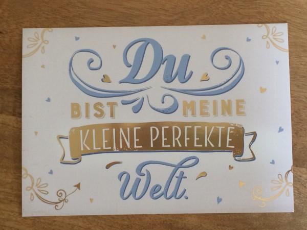 """Postkarte """"Du bist meine kleine perfekte Welt.* Vintage-Art"""