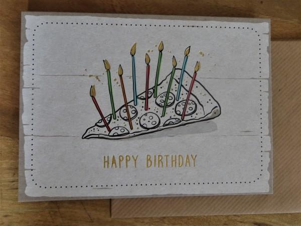 """Klappkarte / Umschlagkarte """"HAPPY BIRTHDAY"""" (Pizza) KUNST und BILD"""
