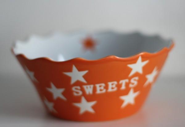 Sweets orangene Schale Schüssel mit Sternen Krasilnikoff