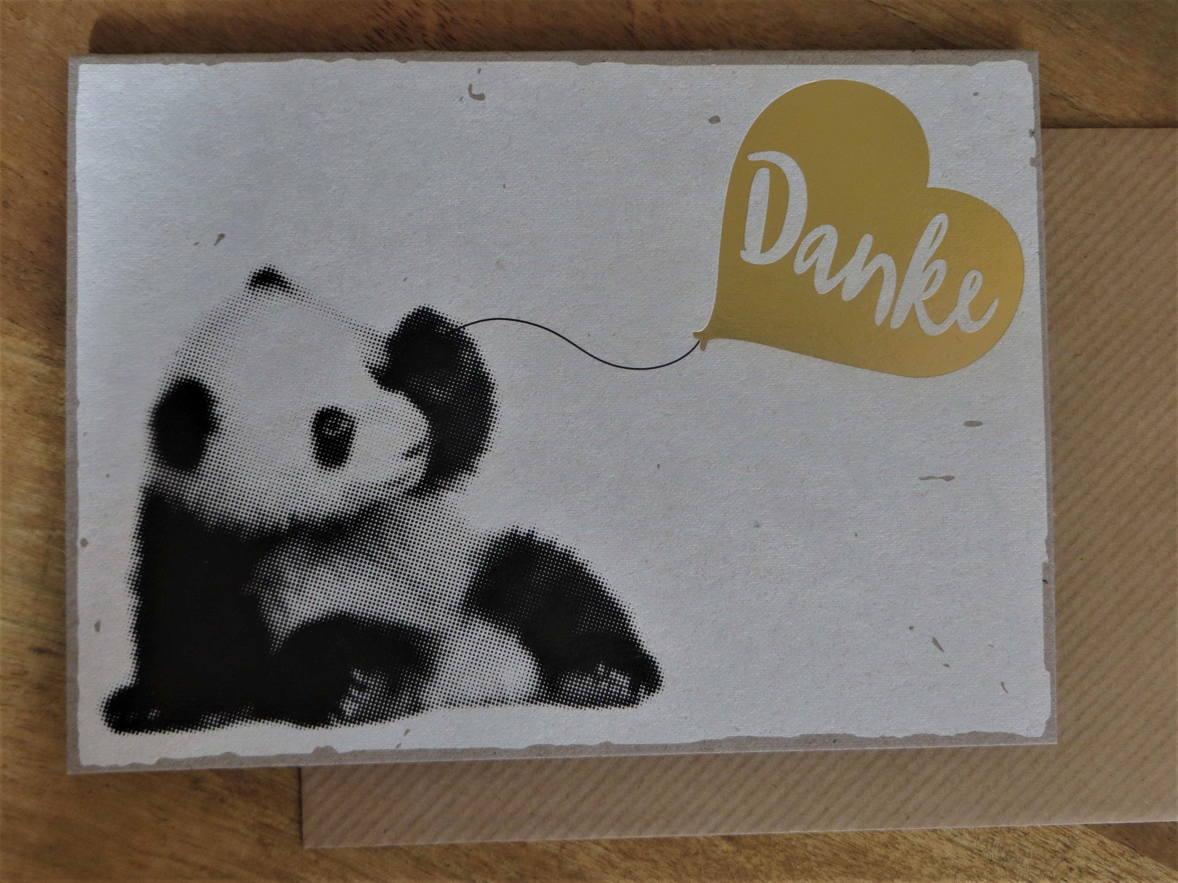 Nützlichgrusskarten - Klappkarte Umschlagkarte Danke Panda KUNST und BILD - Onlineshop Tante Emmer
