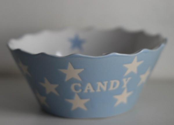 Candy hellblaue Schale Schüssel mit Sternen Krasilnikoff