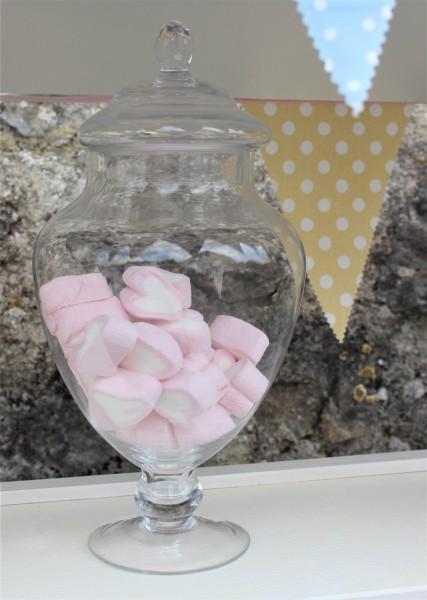 Ausleihe Glas/ Bonbonnière für Candy Bar, rund, 15,5x30,5cm