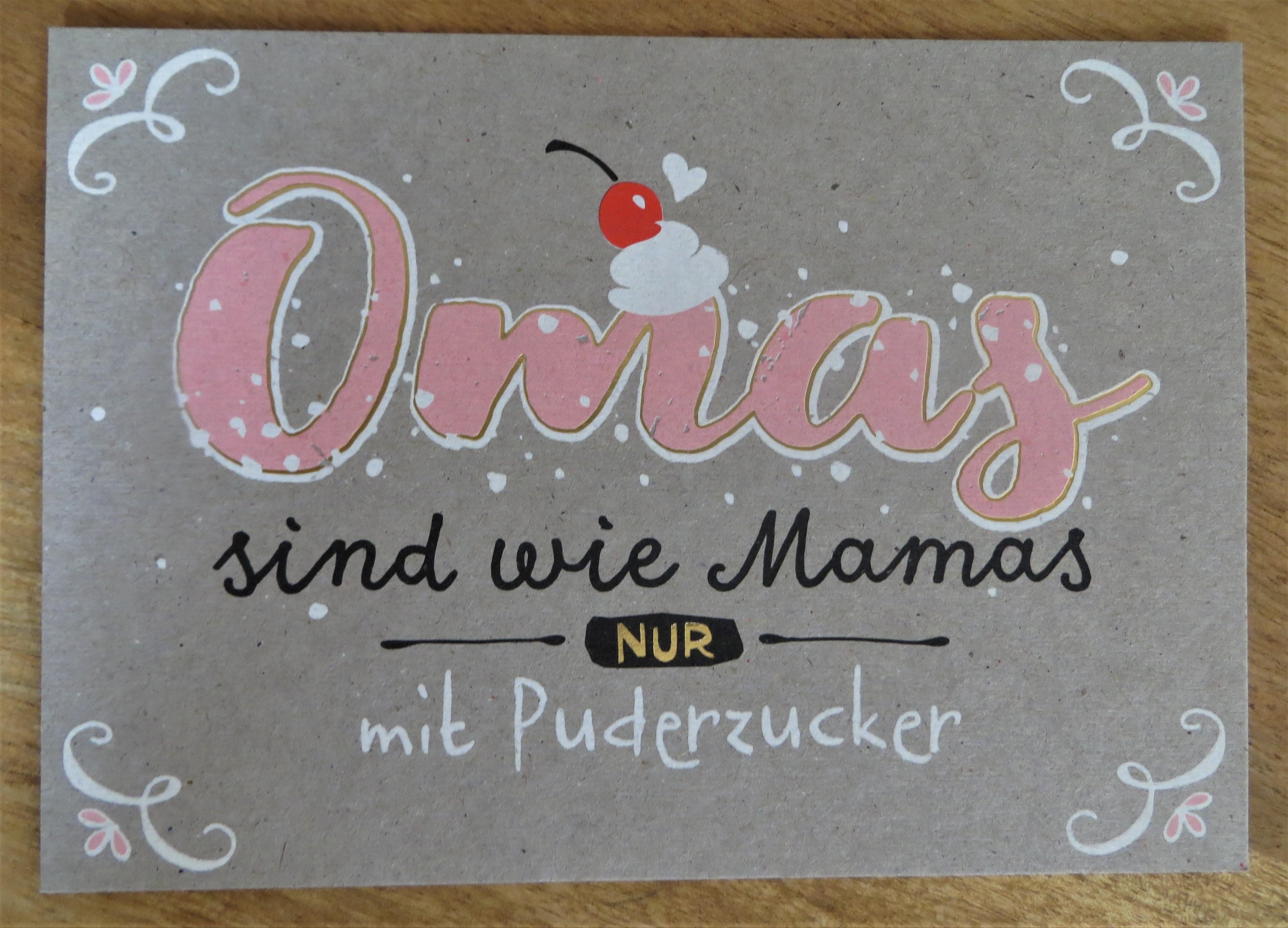 Nützlichgrusskarten - Postkarte Omas sind wie Mamas NUR mit Puderzucker Panda KUNST und BILD - Onlineshop Tante Emmer