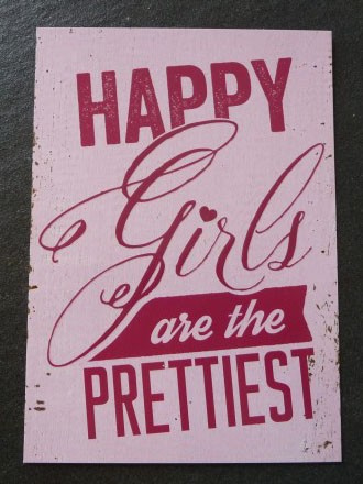 "Postkarte ""HAPPY Girls are the PRETTIEST"" Vintage Art"