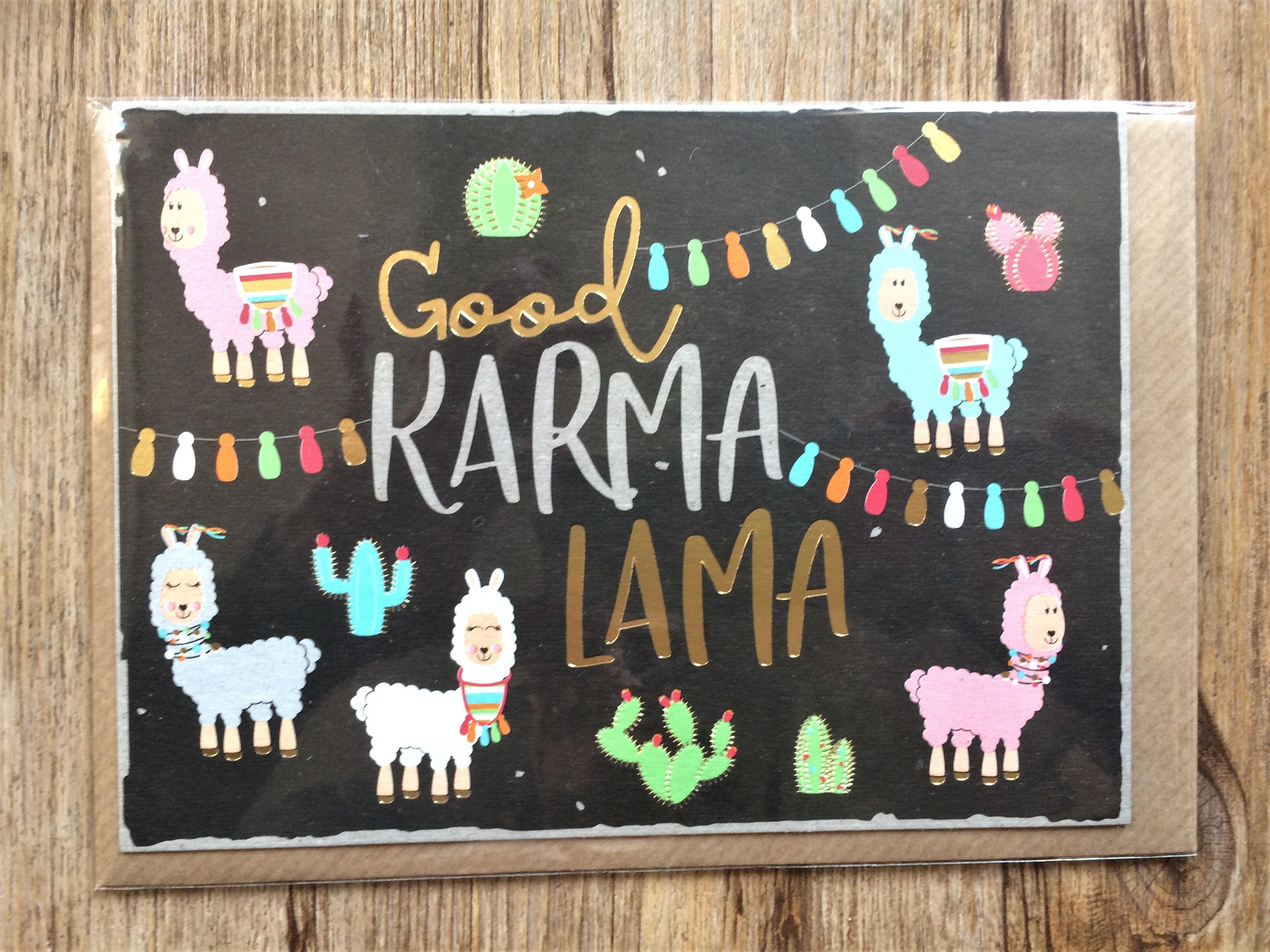 Nützlichgrusskarten - Klappkarte Umschlagkarte Good Karma Lama KUNST und BILD - Onlineshop Tante Emmer