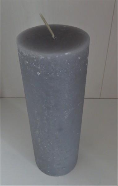 Stumpenkerze hellgrau, Höhe 20 cm