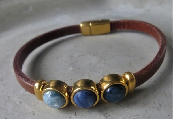 QOSS Armband MILO GOLD Braun-Blau. S