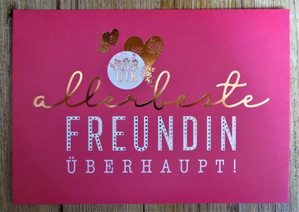 """Postkarte """"Für die allerbeste Freundin überhaupt!"""" VintageArt"""