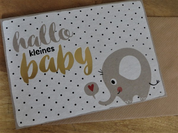 """Klappkarte / Umschlagkarte """"hallo kleines baby"""" KUNST und BILD"""