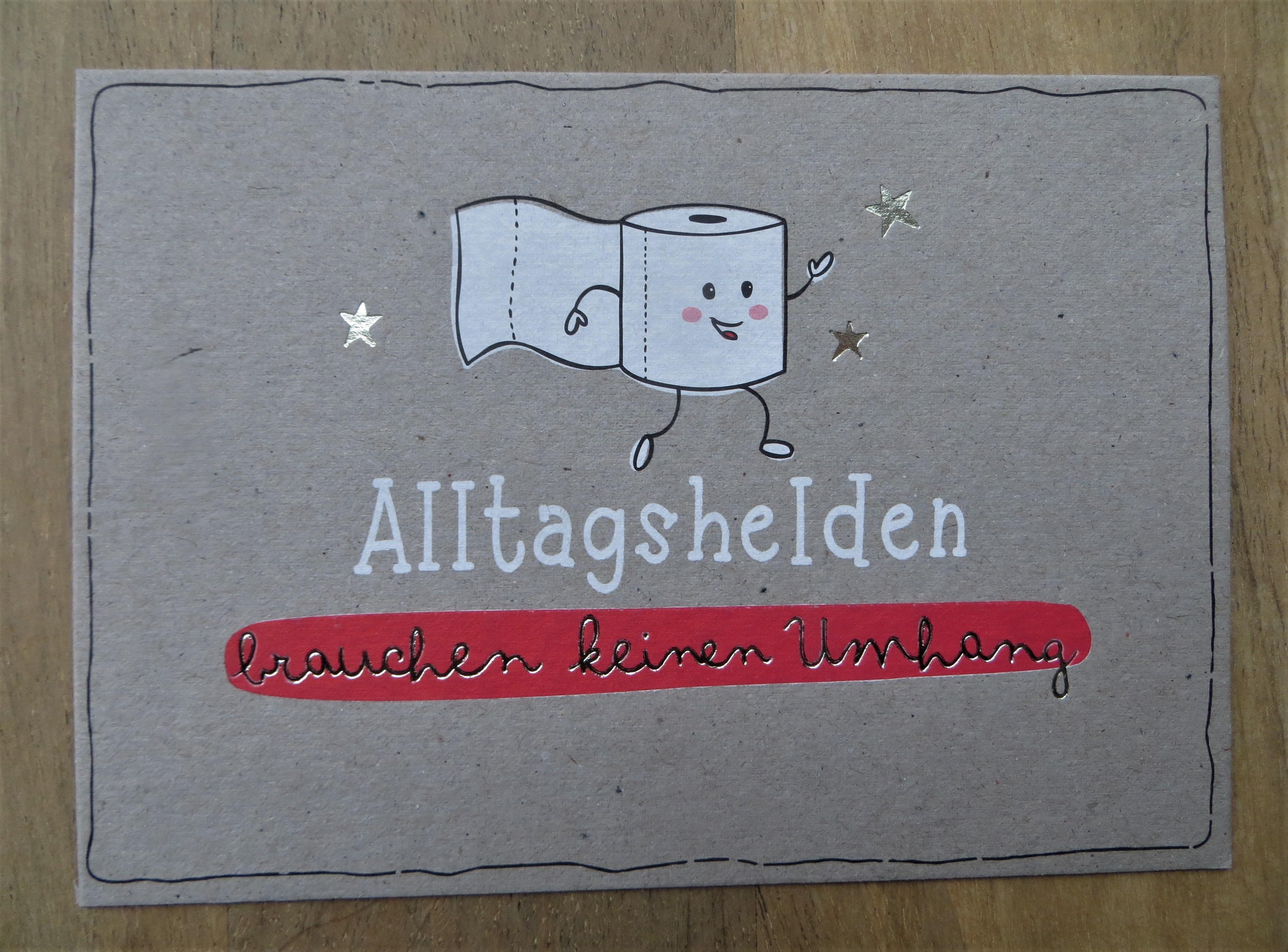 Nützlichgrusskarten - Postkarte Alltagshelden brauchen keinen Umhang KUNST und BILD - Onlineshop Tante Emmer