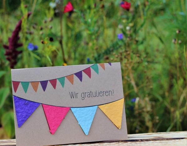 """Glückwunschkarte """"Wir gratulieren!!"""", mit Wildblumen-Saatpapier"""