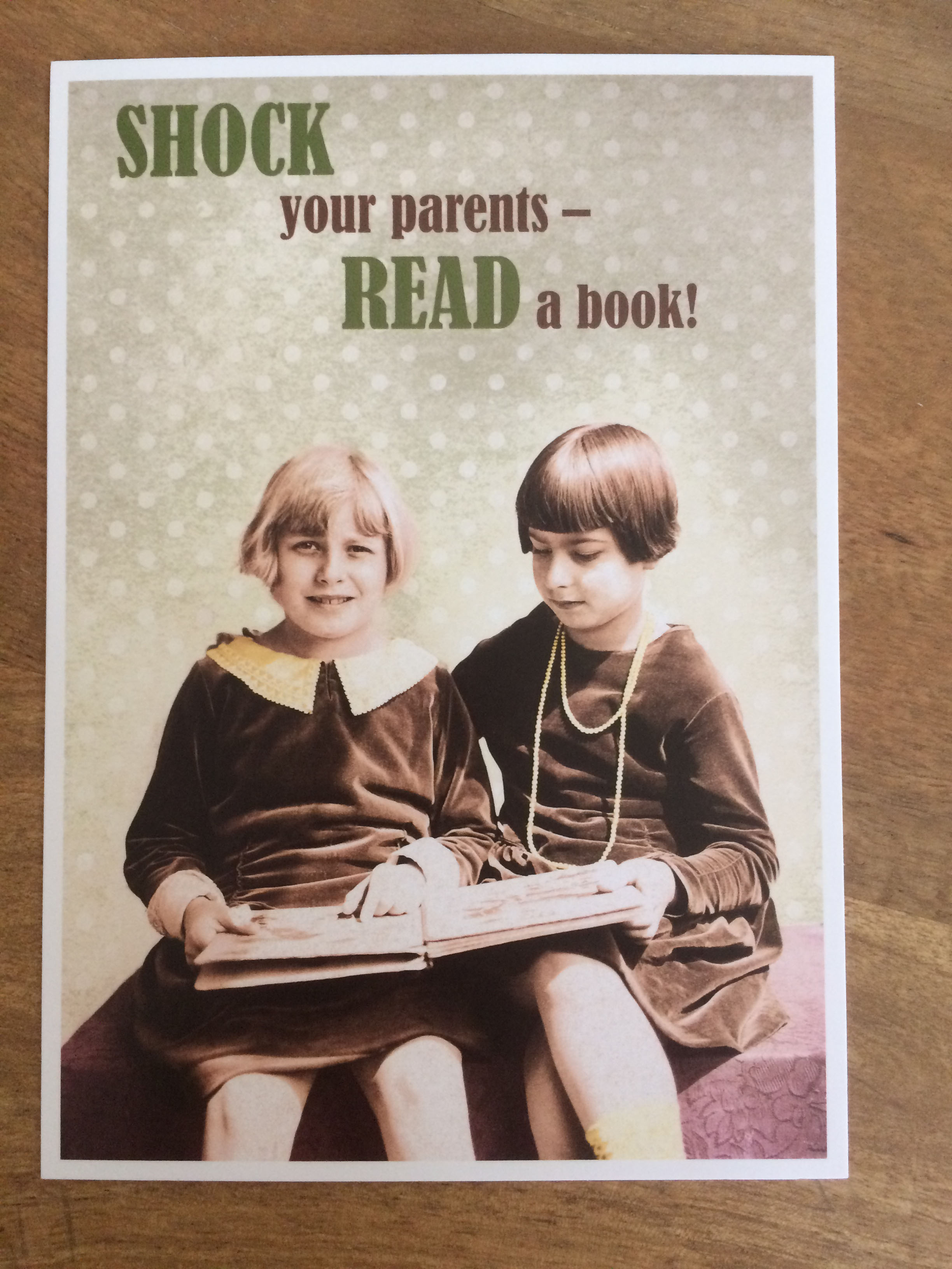Postkarte Karte Shock your parents read a book Paloma