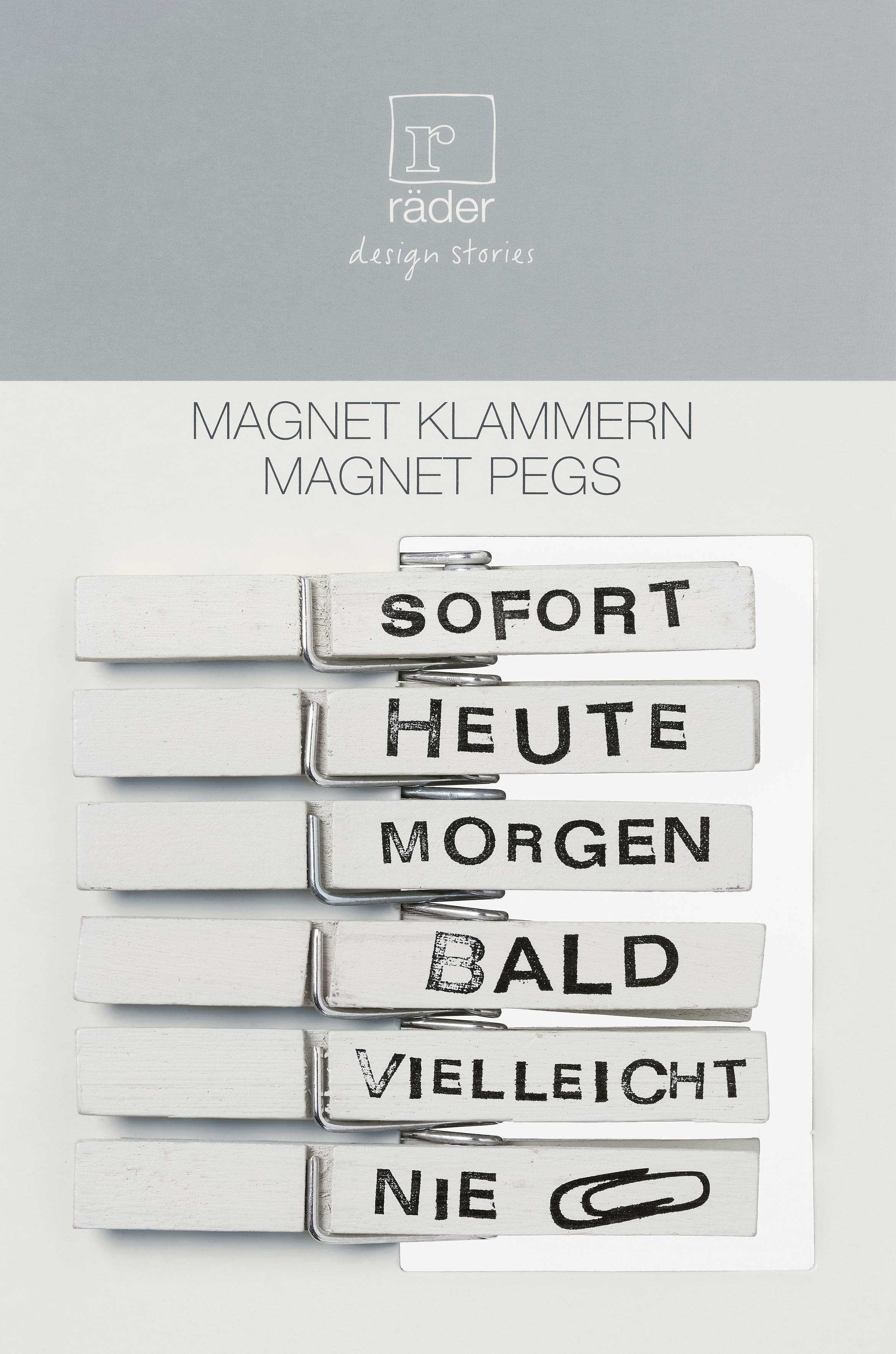 Witzigschilder - Magnet Klammern SOFORT HEUTE NIE... 6er Set Hellgrau räder - Onlineshop Tante Emmer