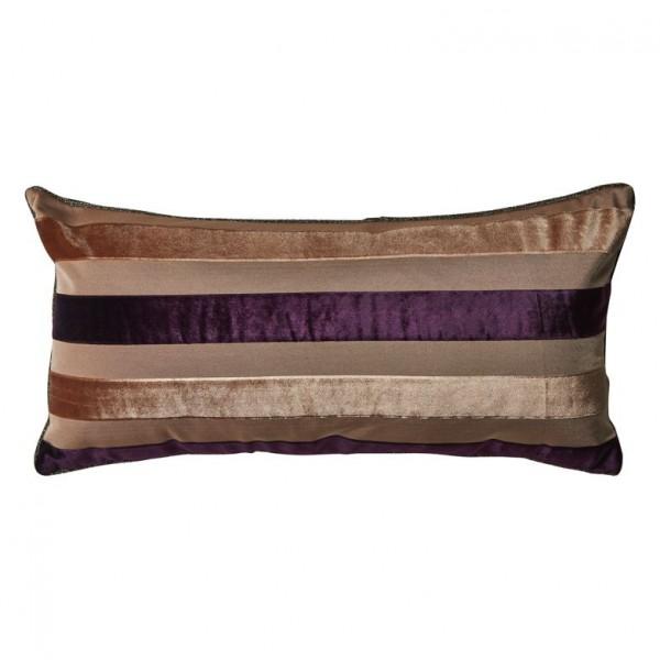 Kissen mit Inlet breit gestreift mit Paspel lila/braun bahne&co