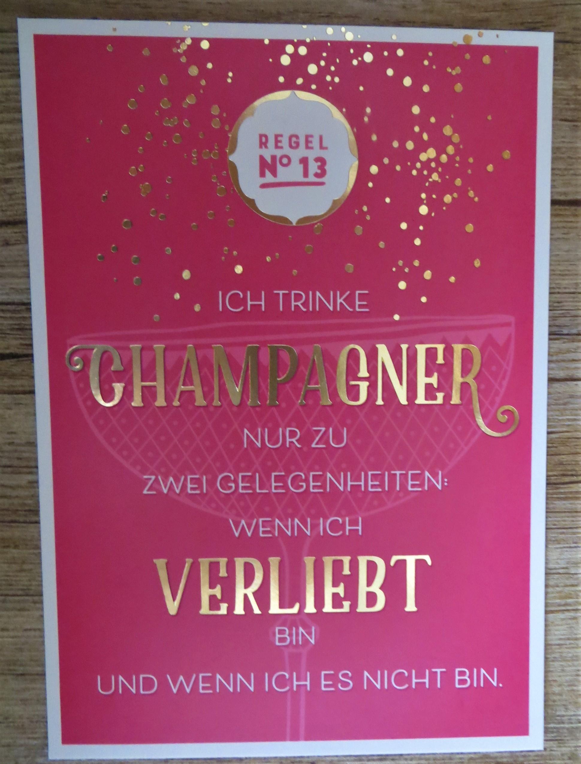 Nützlichgrusskarten - Postkarte REGEL No13 ICH TRINKE CHAMPAGNER NUR ZU ZWEI GELEGENHEITEN... VintageArt - Onlineshop Tante Emmer