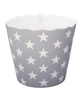 Schale Schüssel ideal für Chips in hellgrau mit weißen Sternen