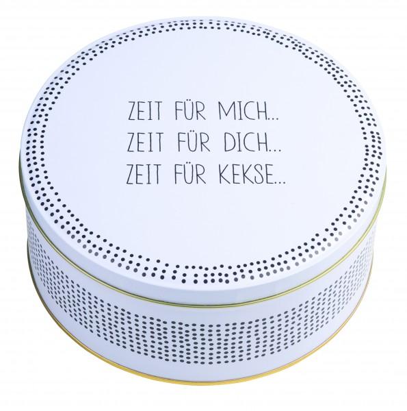 """Keksdose """"Zeit für mich..."""", weiß-schwarz räder"""
