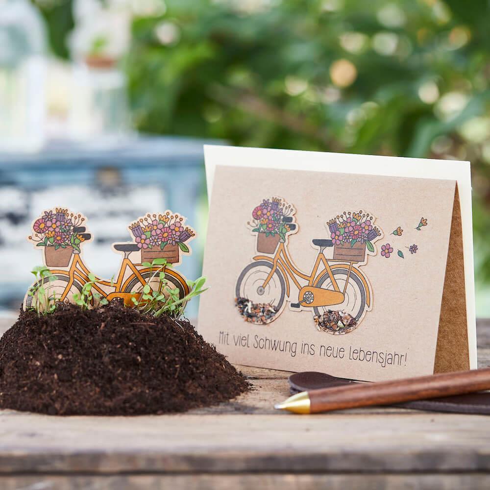 - Grußkarte Mit viel Schwung ins neue Lebensjahr mit Wildblumen Saatstecker - Onlineshop Tante Emmer
