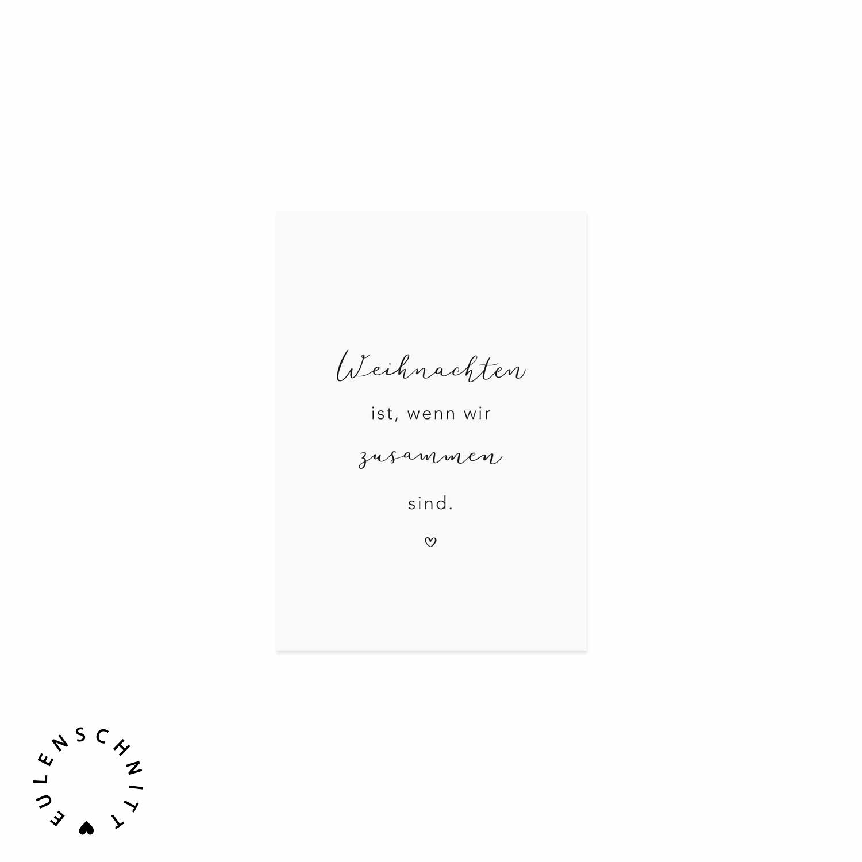 Nützlichgrusskarten - Postkarte Weihnachten ist wenn wir zusammen sind. Eulenschnitt - Onlineshop Tante Emmer
