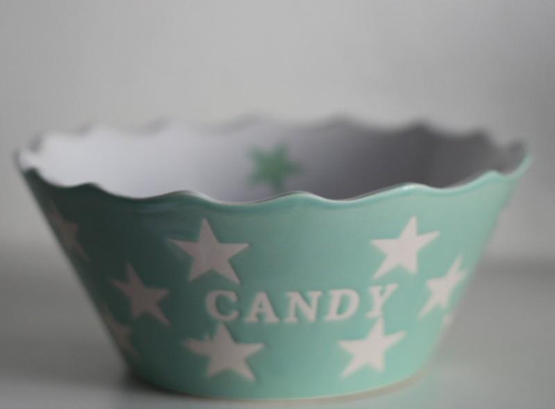 Nützlichküchenaccessoires - Candy mintgrün Schale Schüssel mit Sternen Krasilnikoff - Onlineshop Tante Emmer