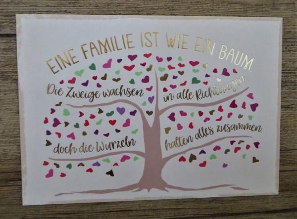 """Postkarte """"EINE FAMILIE IST WIE EIN BAUM. Die Zweige wachsen in alle Richtungen..."""" VintageArt"""