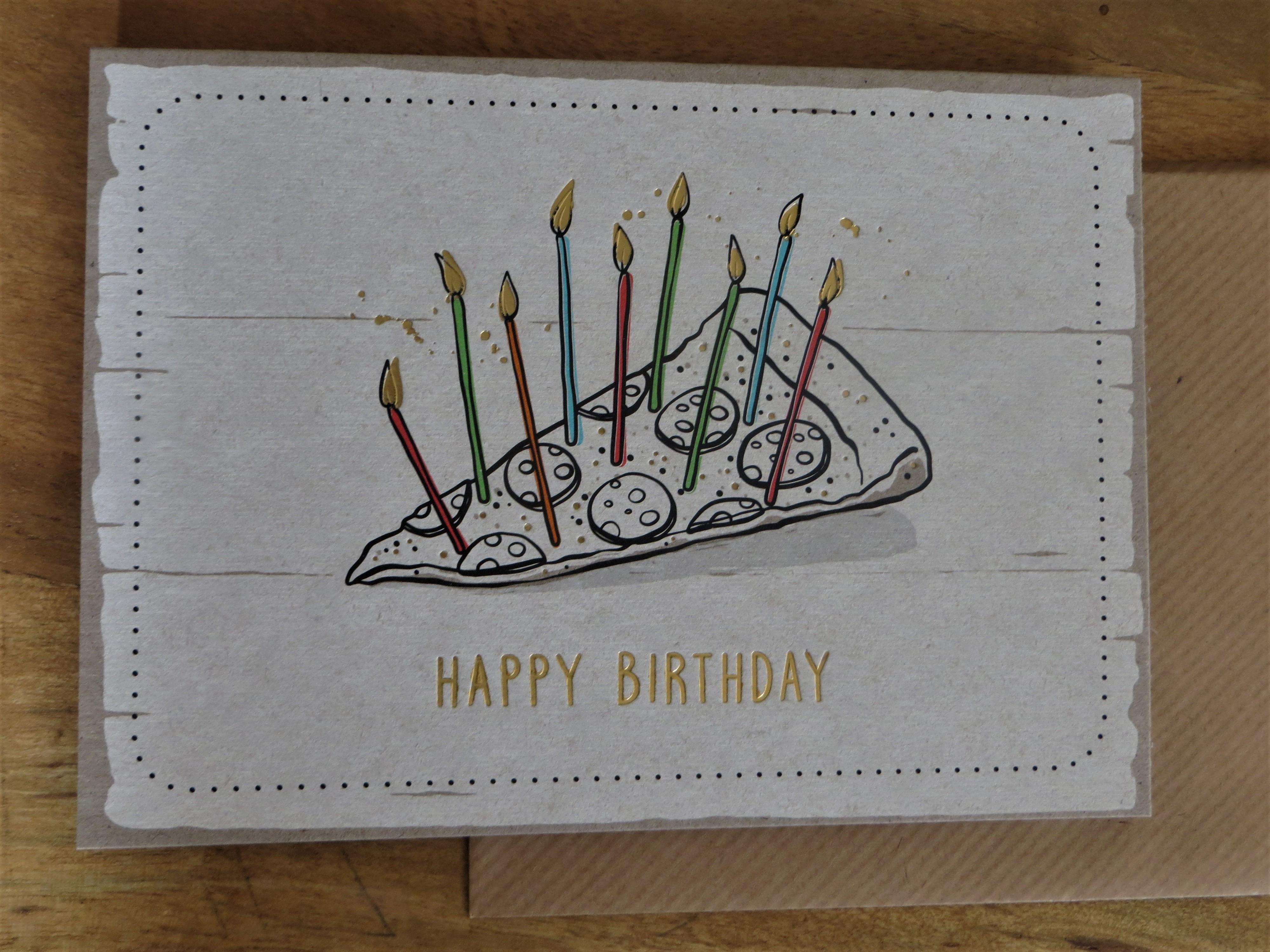 Nützlichgrusskarten - Klappkarte Umschlagkarte HAPPY BIRTHDAY Pizza KUNST und BILD - Onlineshop Tante Emmer