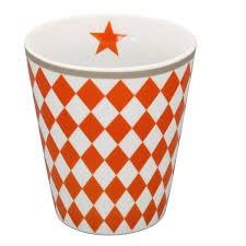 "Mug Kaffeebecher ""orange harlekin"" gerautet"