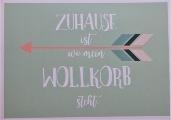 """Karte Postkarte """"ZUHAUSE ist wo mein WOLLKORB steht."""""""