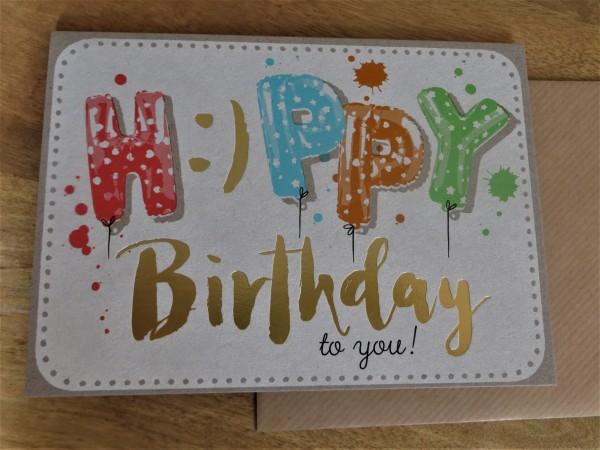 """Klappkarte / Umschlagkarte """"H:)PPY Birthday to you!"""" KUNST und BILD"""