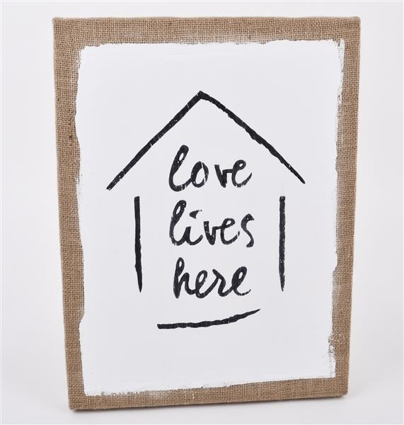 Wandbild Schild Love lives here