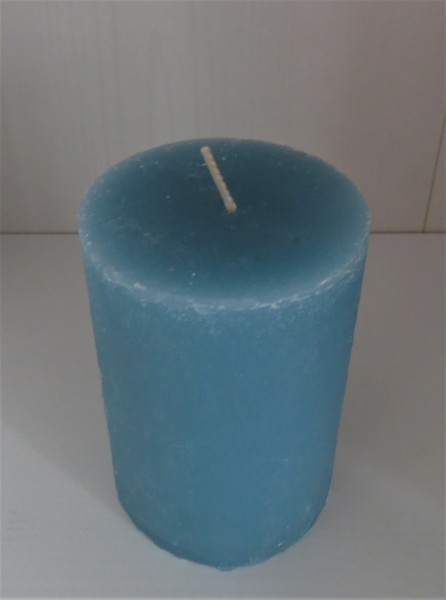Stumpenkerze seeblau, Höhe 10 cm