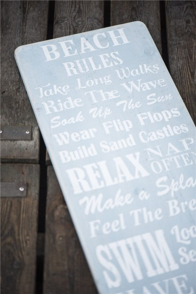 "Holz Schild ""Beach Rules"""