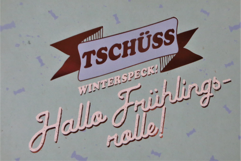 Postkarte TSCHÜSS Winterspeck Hallo Frühlingsrolle