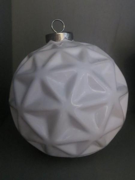 Christbaumkugel Porzellan weiß, Stern/Schneekristall