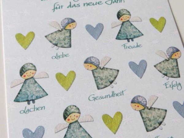 Postkarte Weihnachtskarte mit Engeln u. Herzen mit Glitzer Kultura