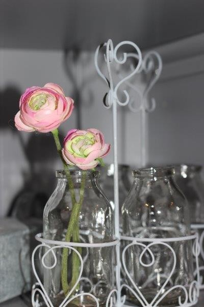 Flaschenhalter / Vase mit 2 Flaschen für Blumendekoration