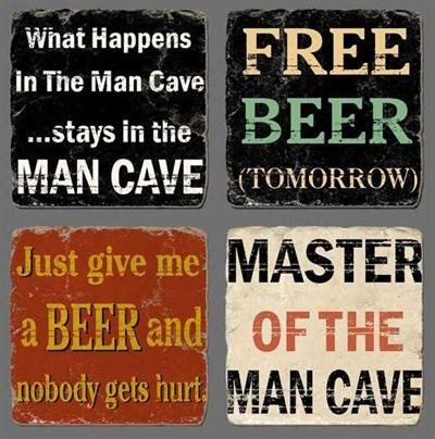 "Stein Untersetzer ""What happens in the man cave..."" La Finesse"