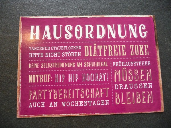 """Postkarte """"HAUSORDNUNG TANZENDE STAUBFLOCKEN...."""" Vintage Art"""