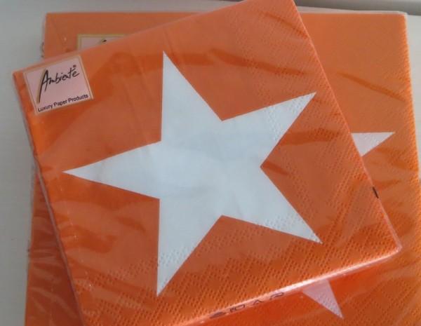 Servietten Orange mit Stern 25 x 25 cm
