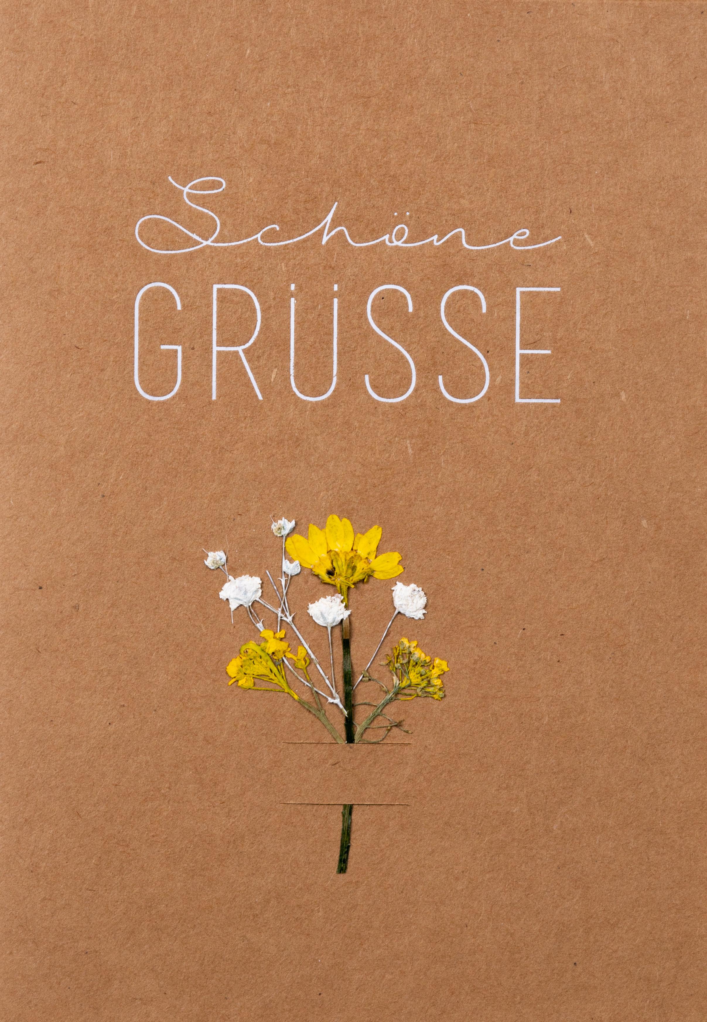 - Glückwunschkarte Schöne Grüsse mit echten Blüten räder - Onlineshop Tante Emmer