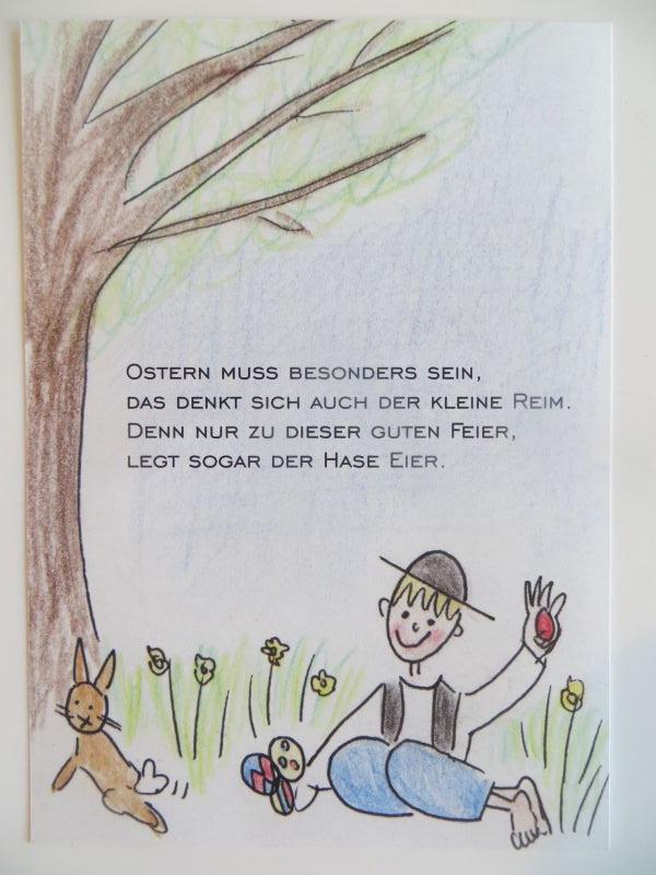 Der kleine Reim Postkarte Ostern