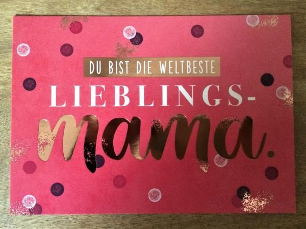 """Postkarte """"Du bist die weltbeste Lieblings- Mama."""""""