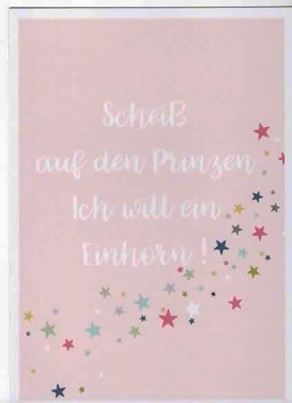 Nützlichgrusskarten - Karte Postkarte Scheiß auf den Prinzen Ich will ein Einhorn - Onlineshop Tante Emmer