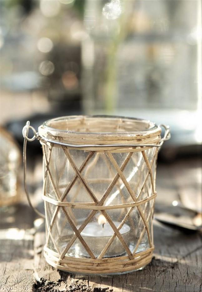Nützlichdekoration - Kerzenhalter Teelicht Glas mit Henkel Bambus 95cm Ib Laursen - Onlineshop Tante Emmer
