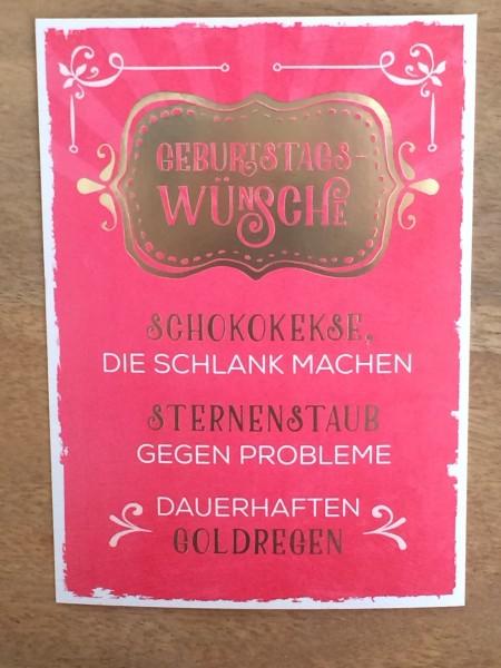 """Postkarte """"Geburtstagswünsche Schokokekse, die schlank machen Sternenstaub..."""" Vintage Art"""
