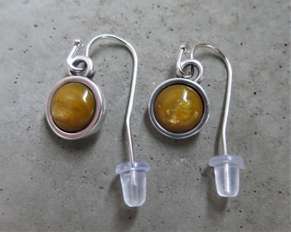 QOSS Ohrring Ohrhänger MARIE kurz, Silber/ Ocker-Gelb